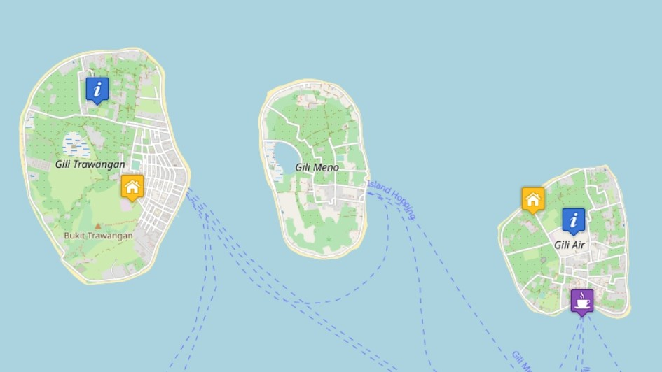 Karte der Gili Inseln, Indonesien