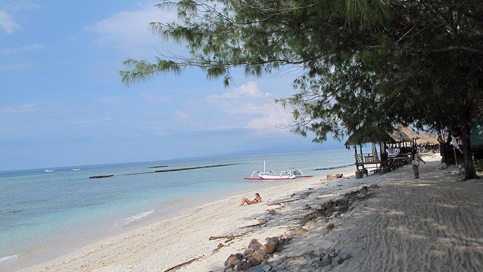 Strand auf Gili Trawangan, Gili Inseln, Indonesien